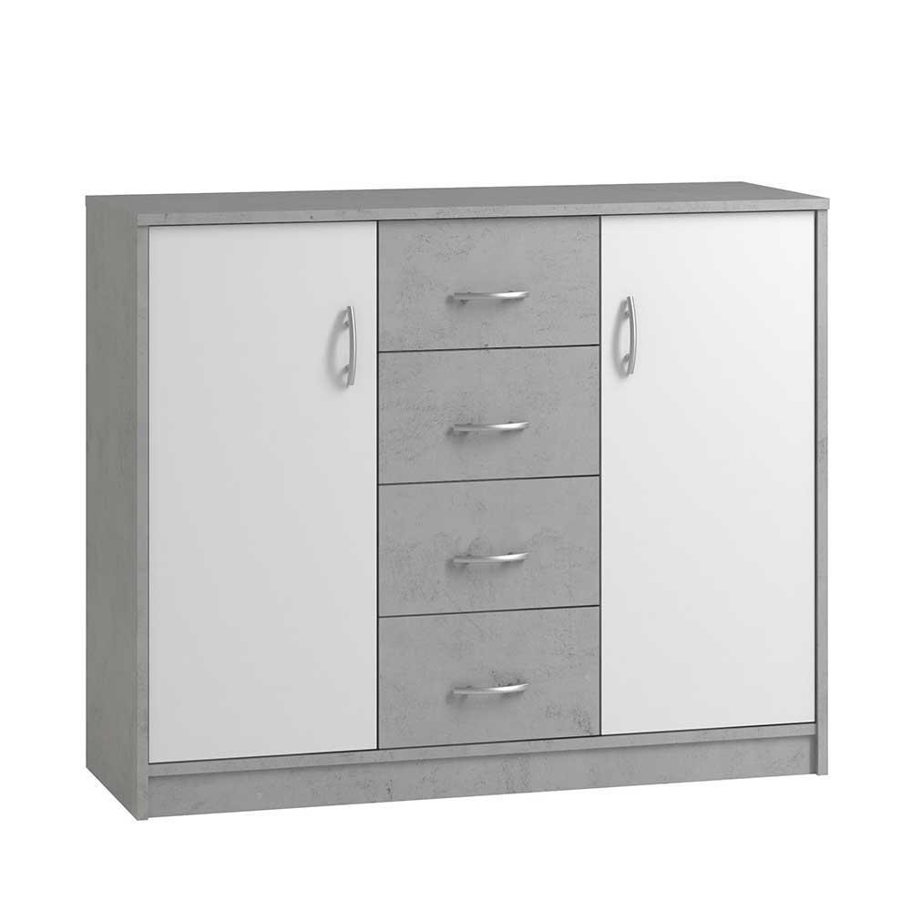 Flur Kommode in Weiß und Beton Grau Schubladen und Türen | Flur & Diele > Regale für Flur und Diele | Müllermöbel