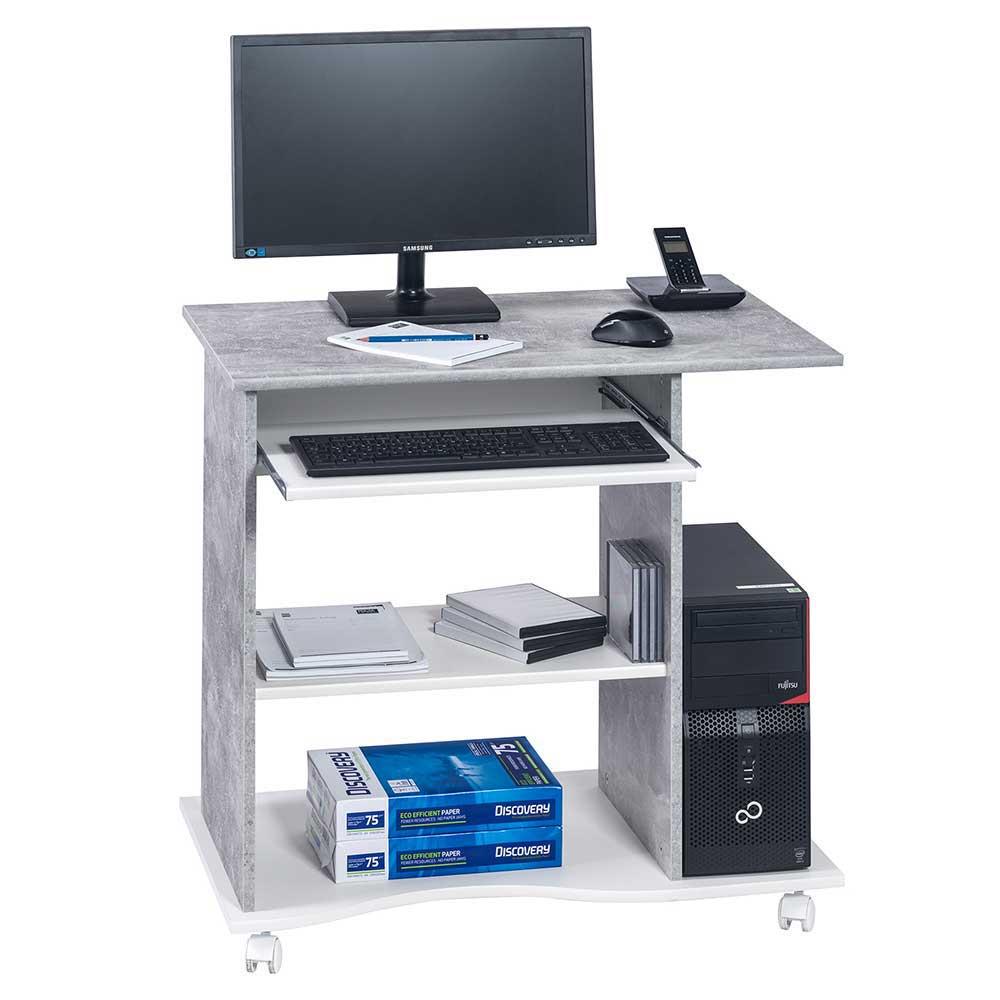 Computertisch mit Rollen Beton Grau und Weiß
