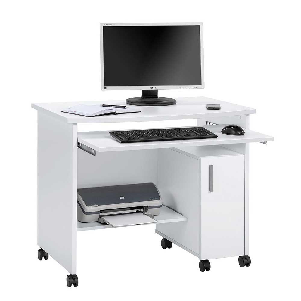 Rollen Computertisch mit Tastaturauszug Weiß | Büro > Bürotische > Computertische | Müllermöbel