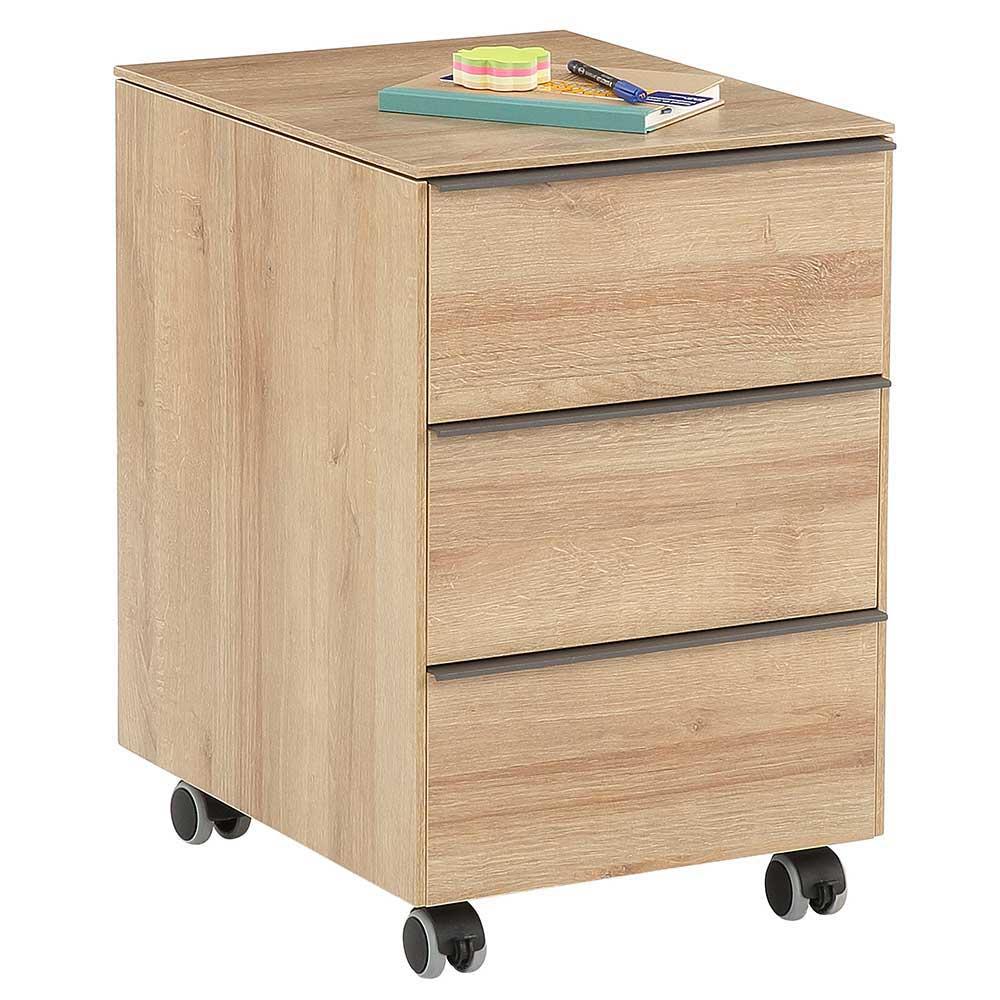 Bürocontainer in Eiche Dekor 61 cm hoch | Büro > Büroschränke > Container | Müllermöbel
