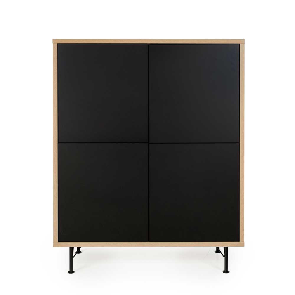 Design Sideboard in Schwarz und Eiche grifflos