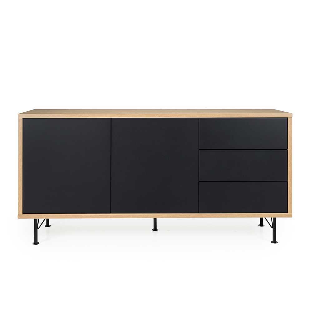 Design Sideboard in Schwarz und Eiche modern