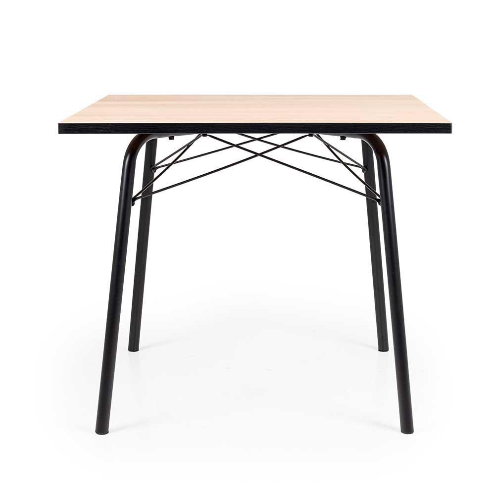 Quadratischer Esstisch in Eiche und Schwarz Stahl 90 cm