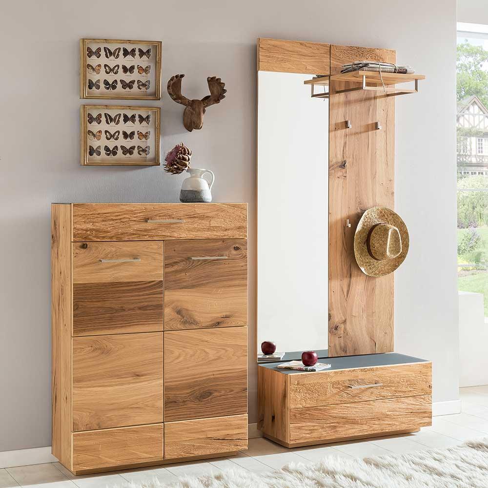 Flurgarderobenset Balkeneiche furniert Schuhschrank (4-teilig) | Flur & Diele > Garderoben > Garderoben-Sets | Holz | Holzwerkstoff | Wooding Nature