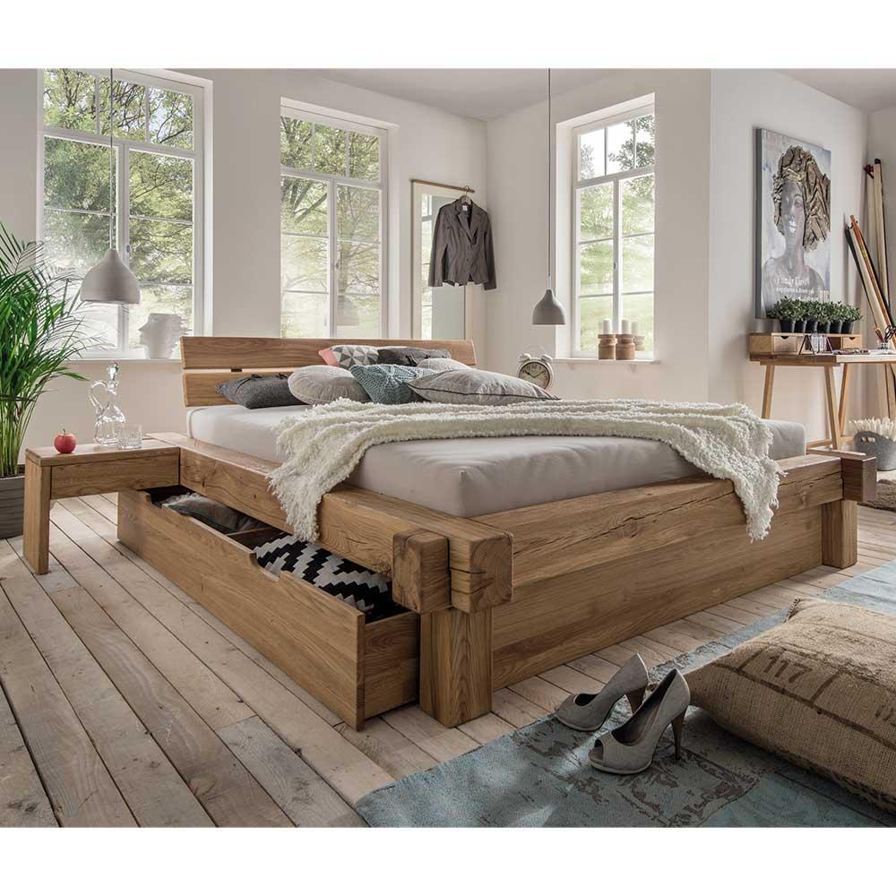 Doppelbett aus Wildeiche Massivholz Schublade (dreiteilig)