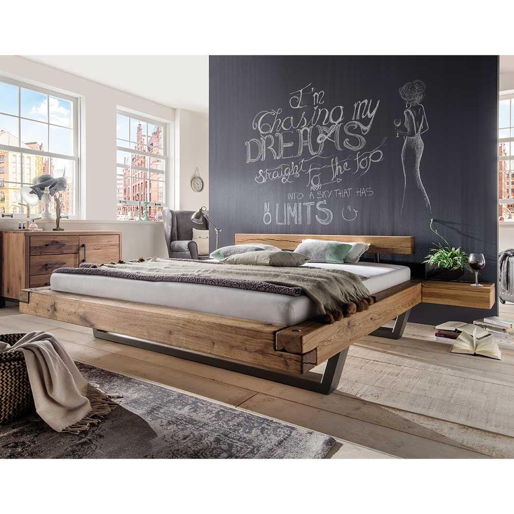 Massiv Balkenbett aus Wildeiche geölt kaufen (3-teilig)