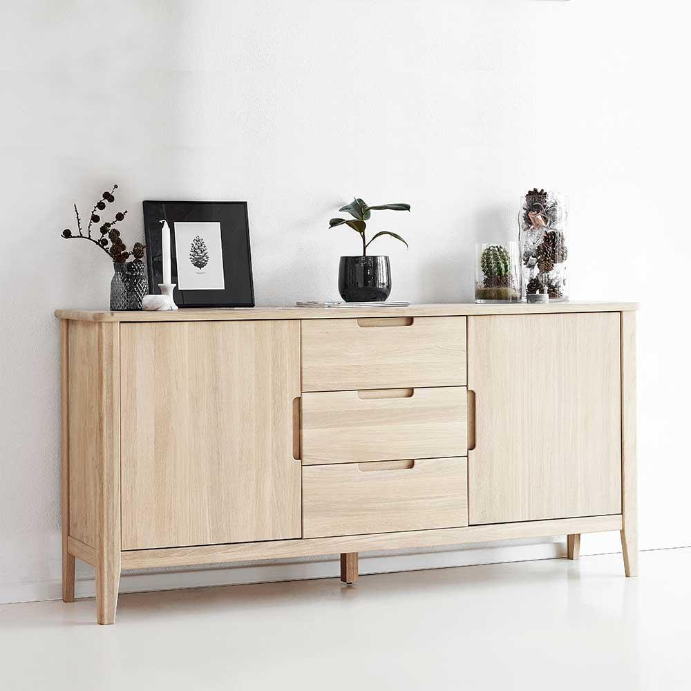 Massivholz Sideboard aus Eiche Bianco geölt 180 cm breit