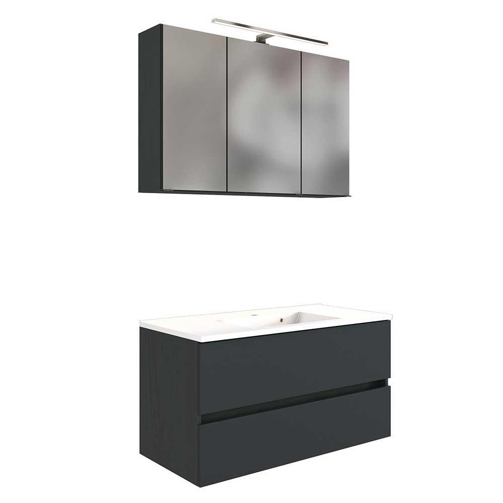 Badmöbel Set in dunkel Grau LED Beleuchtung (zweiteilig)
