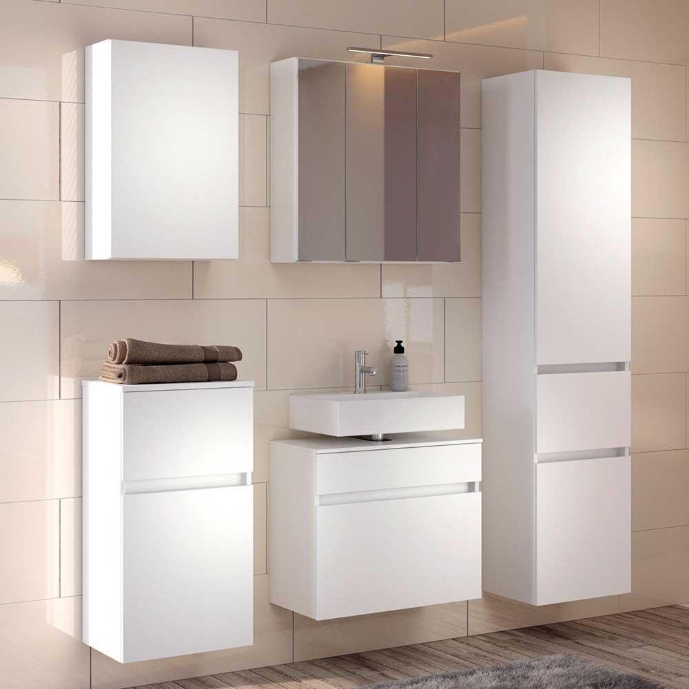 Weiße Badmöbel modern Stand- und Wandmontage (fünfteilig)