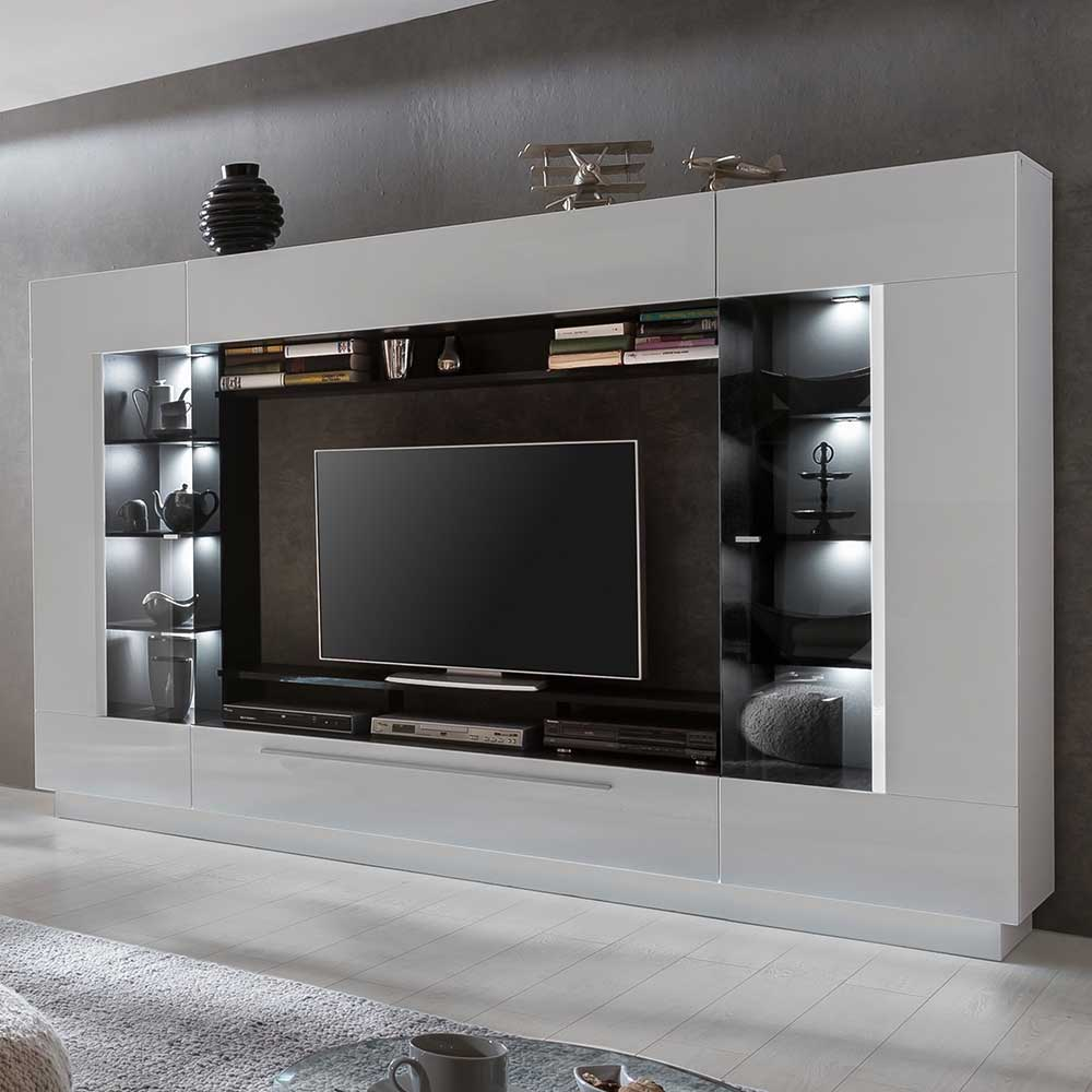 Moderne TV Wand in Hochglanz Weiß 275 cm breit