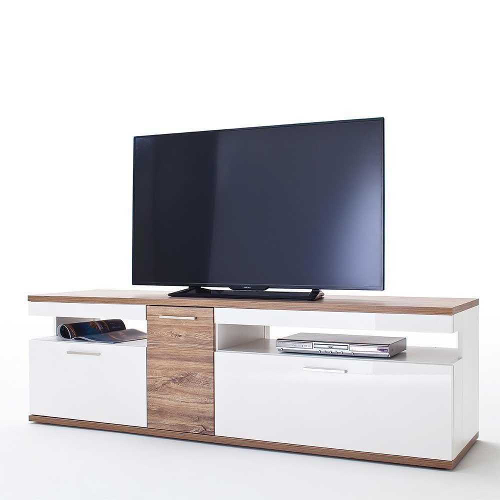 TV Lowboard in Weiß Hochglanz und Eiche Dekor 180 cm breit