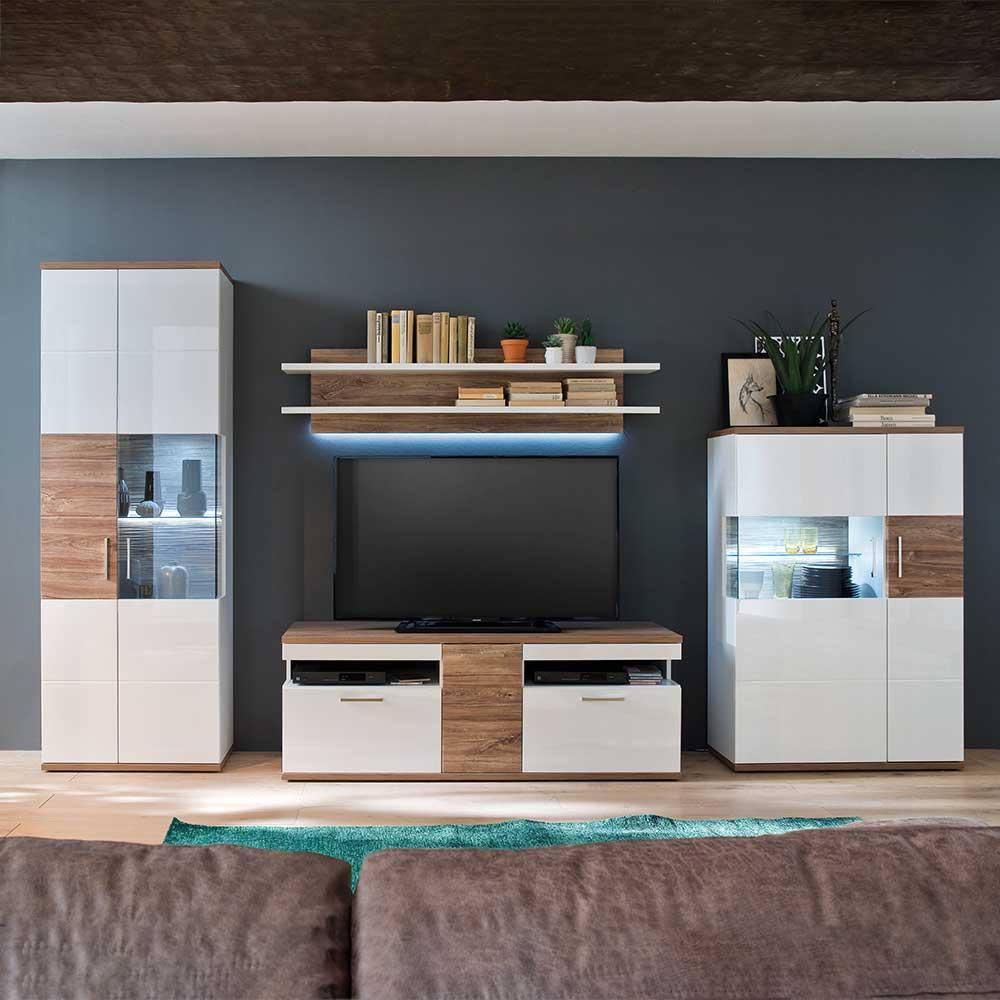 Wohnzimmerwohnwand in Weiß Hochglanz und Eiche Dekor modern (4 teilig)