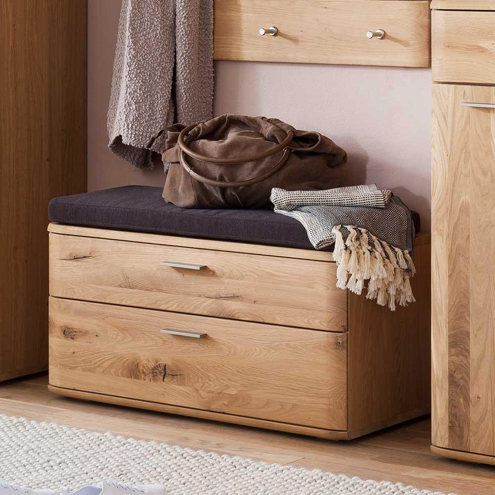 Garderobenbank in Eiche Bianco 90 cm breit | Flur & Diele > Garderoben > Garderobenbänke | TopDesign