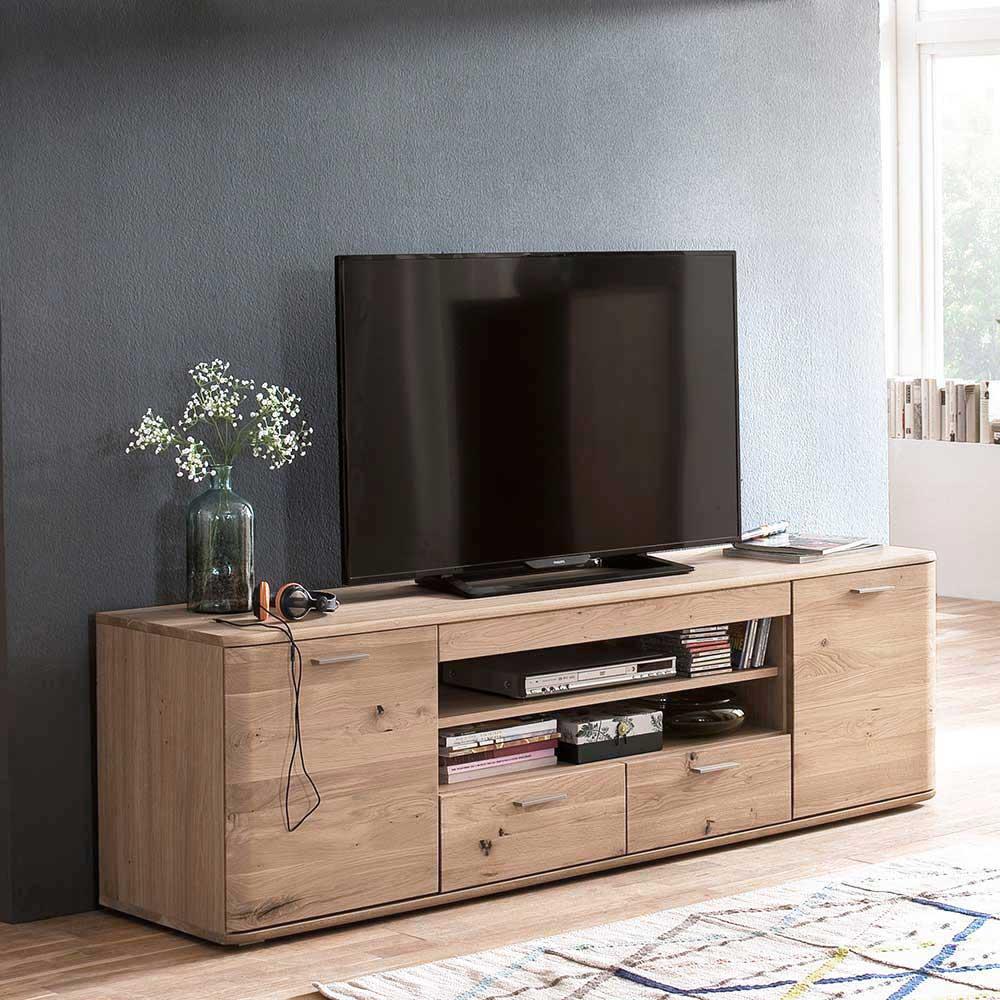 TV Lowboard in Eiche Bianco 200 cm breit
