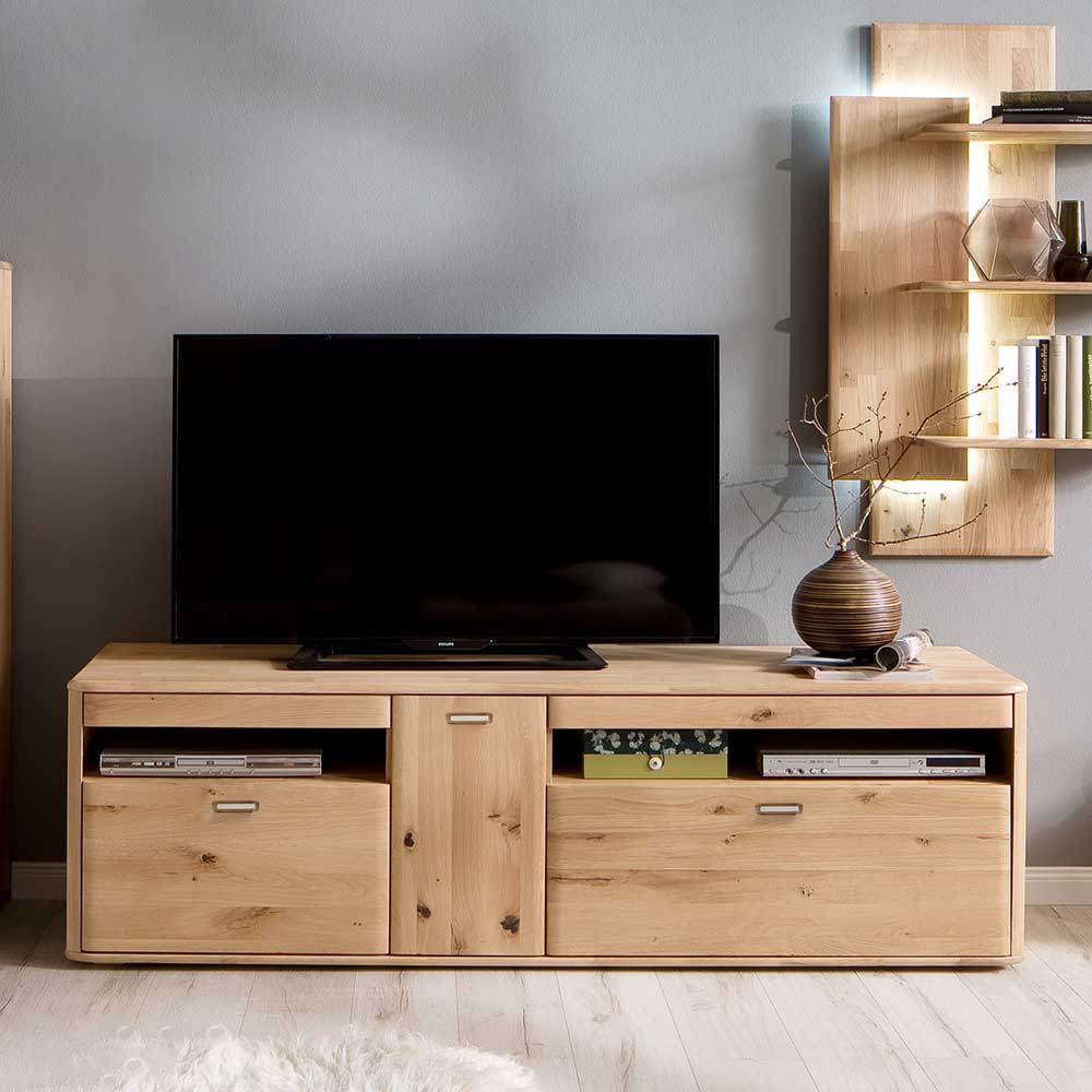 TV Lowboard in Eiche Bianco Eiche Massivholz