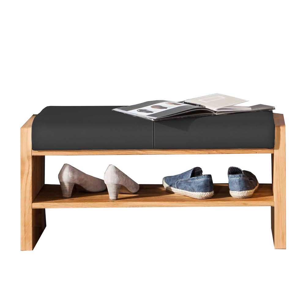Garderoben Sitzbank aus Wildeiche Massivholz und Echtleder Anthrazit modern | Flur & Diele > Garderoben > Garderobenbänke | Holz | Massivholz | Dreaming Forest