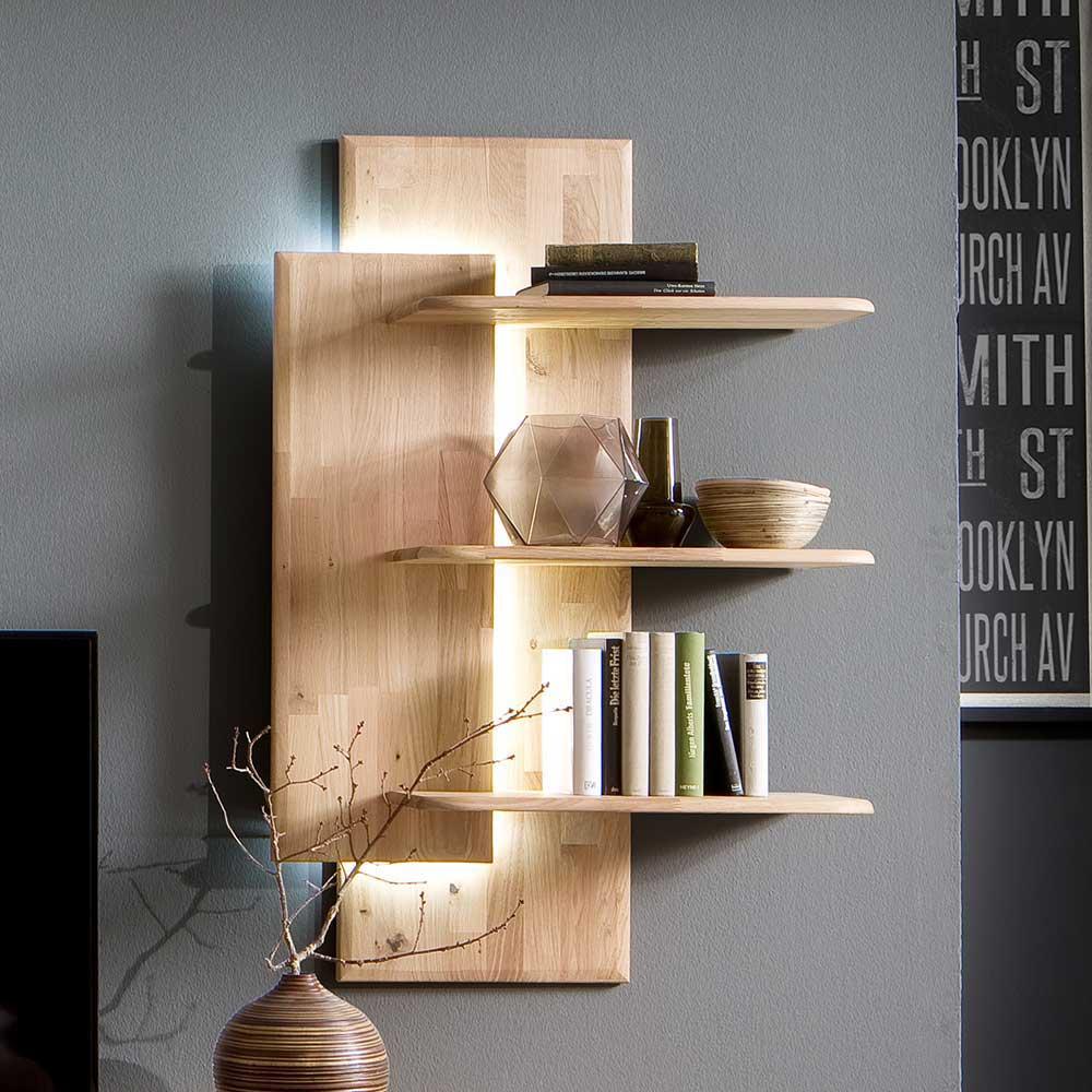 Hängeregal massiv in Eiche Bianco 3 Ablageböden | Wohnzimmer > Regale > Hängeregale | Holz | Massivholz | TopDesign