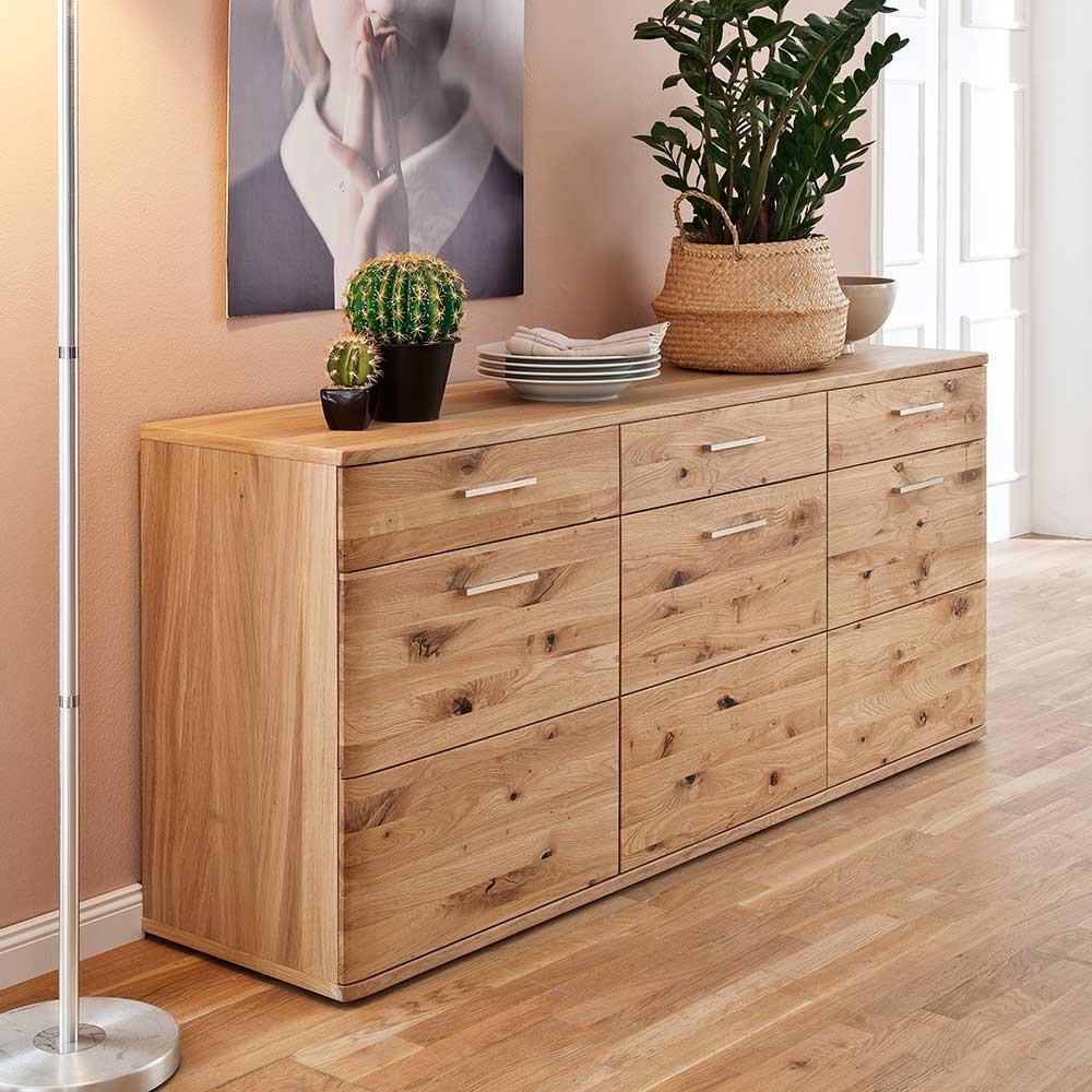 Holz Sideboard aus Eiche Bianco geölt 180 cm breit