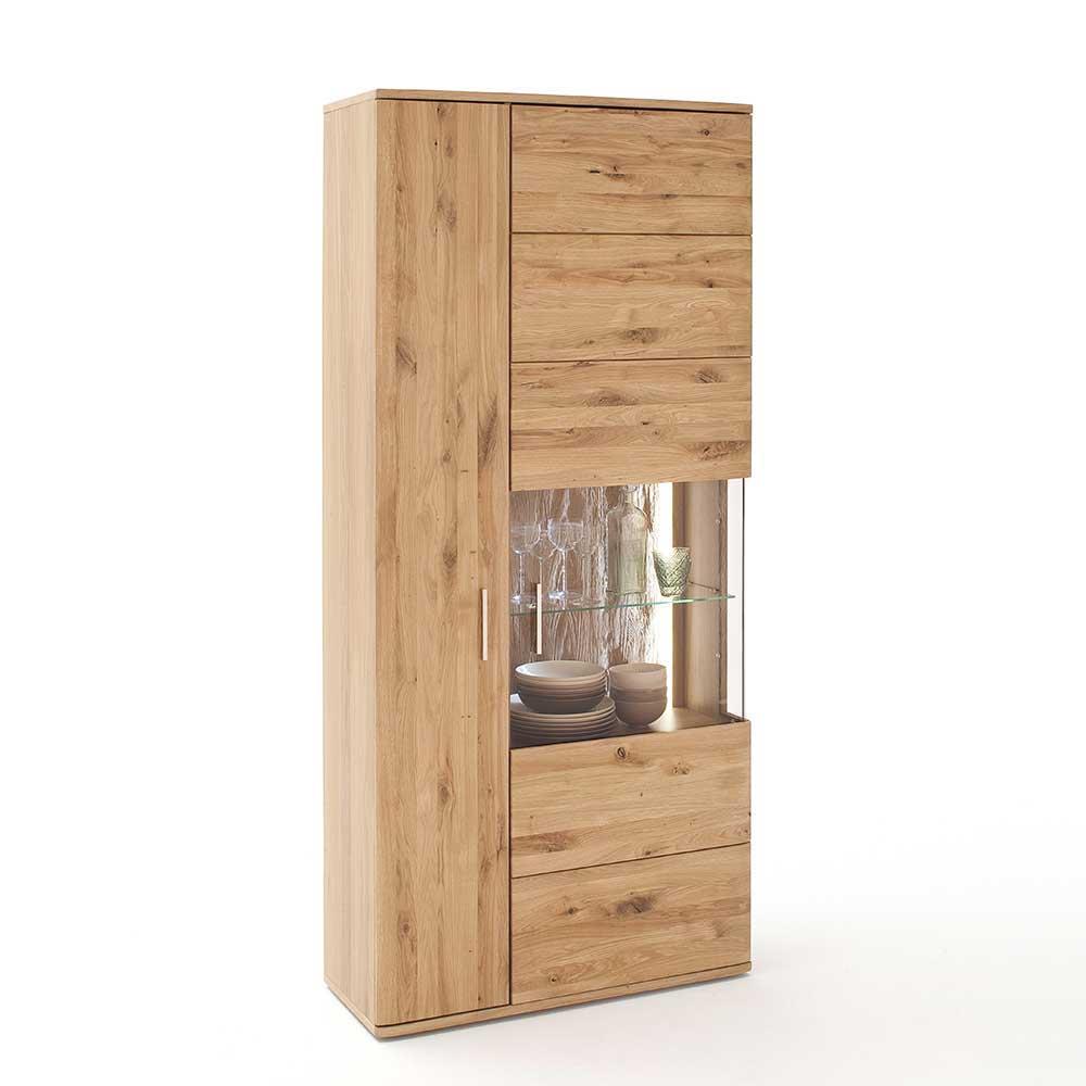Wohnzimmer Vitrine aus Eiche Bianco geölt 90 cm breit