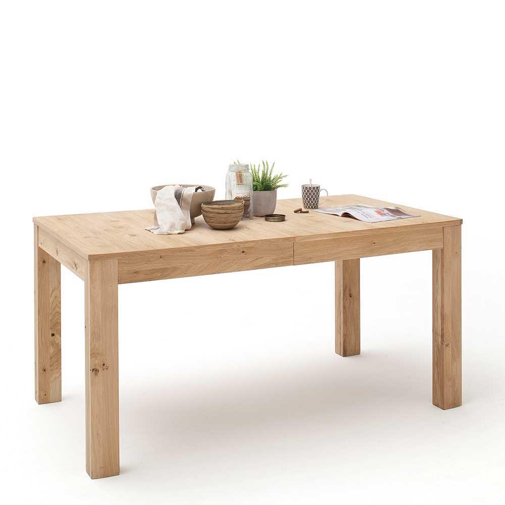Küchentisch ausziehbar Eiche Bianco furniert | Küche und Esszimmer > Esstische und Küchentische > Küchentische | Eiche - Bianco - Massivholz - Spanplatte - Furniert - Geölt - Massiv | TopDesign