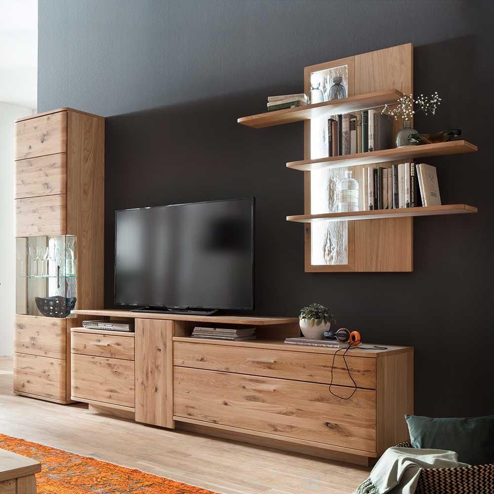 TV Wohnwand aus Eiche Bianco geölt 320 cm breit (dreiteilig)