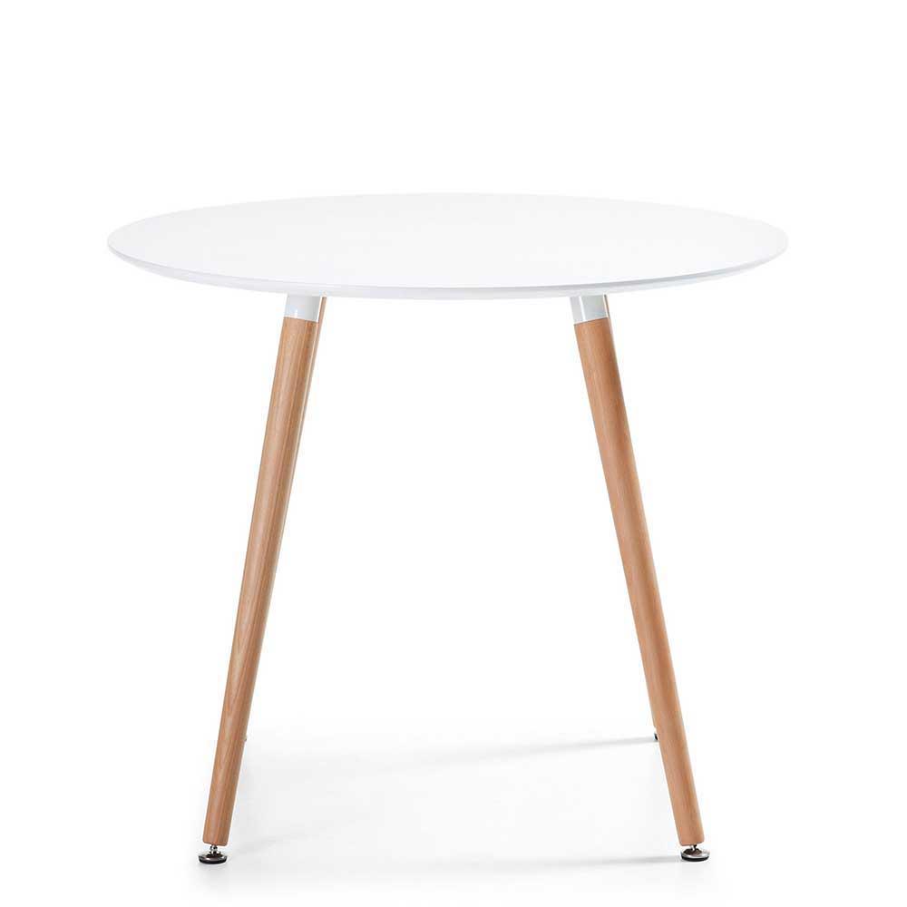 Esstisch in Weiß und Buchefarben runde Tischform