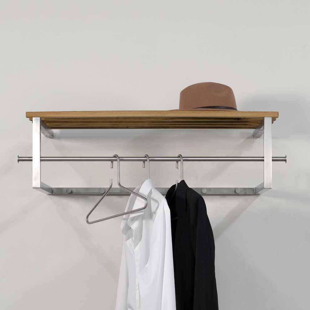 Edelstahl Garderobe mit Hutablage aus Massivholz modern | Flur & Diele > Regale für Flur und Diele > Wandregale für Flur und Diele | Grau | Metall | Homedreams