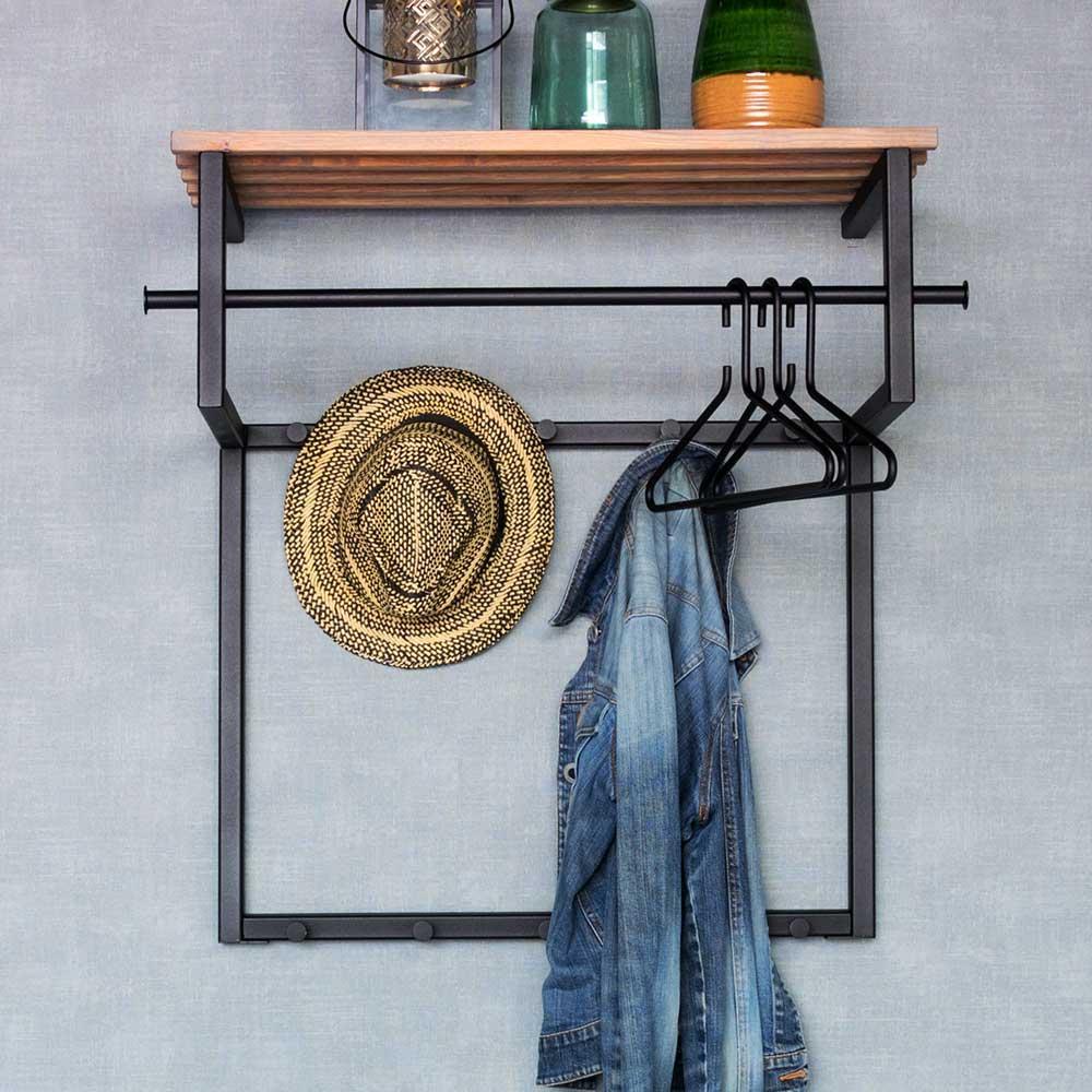 Industry Design Wandgarderobe aus Stahl in Schwarz Hutablage aus Holz   Flur & Diele > Regale für Flur und Diele   Schwarz   Metall   Homedreams