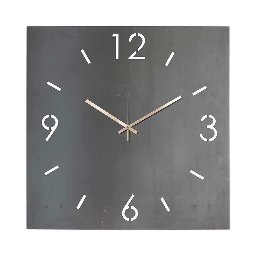 Quadratische Wanduhr in Grau Stahl   Dekoration > Uhren > Wanduhren   Homedreams