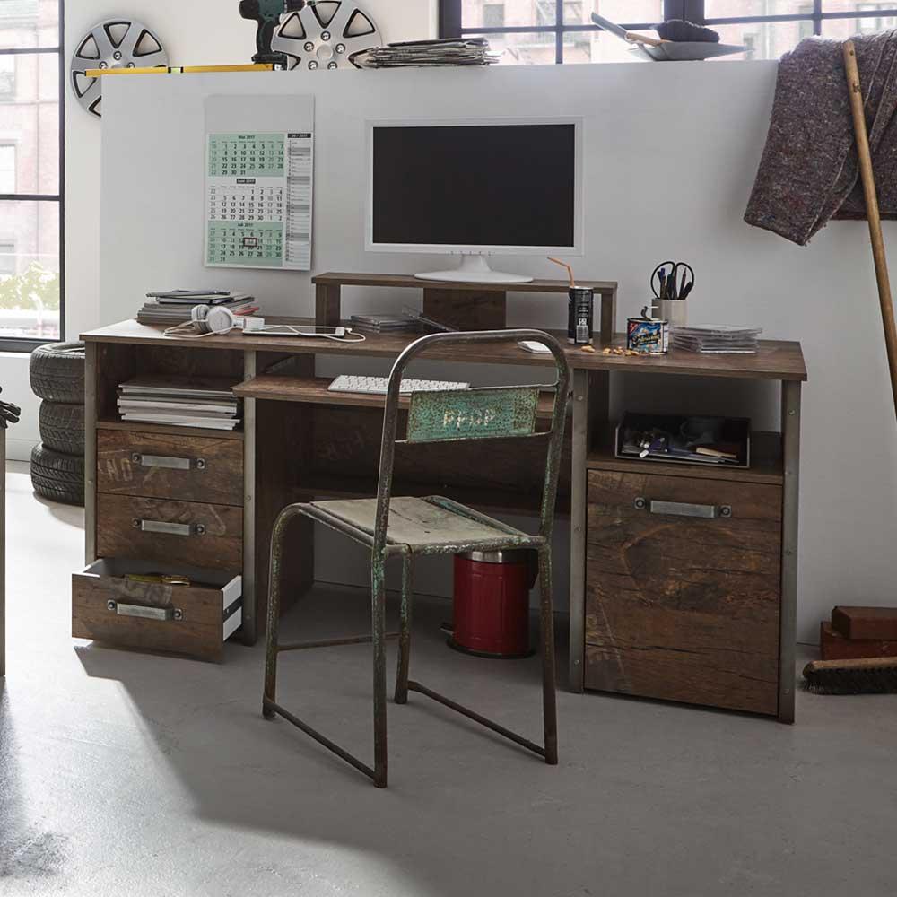 Computertisch mit Tastaturauszug Loft Style