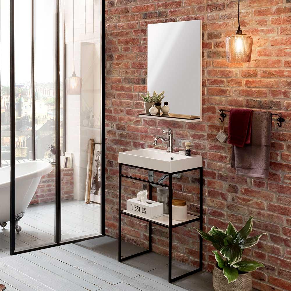 Design Badmöbel Set in Schwarz Weiß modern (zweiteilig)