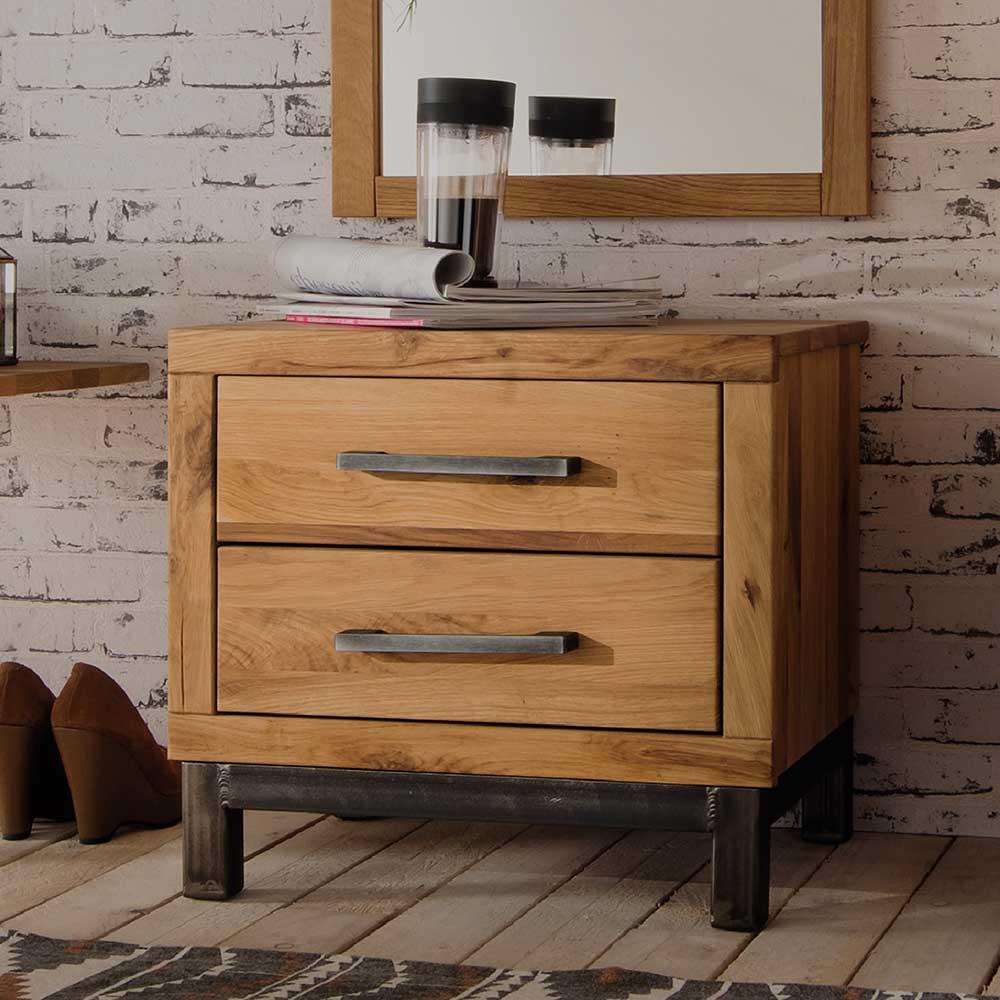 Nachttisch aus Wildeiche Massivholz rustikalen Landhausstil | Schlafzimmer > Nachttische | Wildeiche - Massivholz - Eisen - Metall - Geölt | Life Meubles