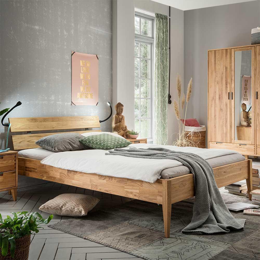 Naturholzbett aus Eiche Massivholz modern