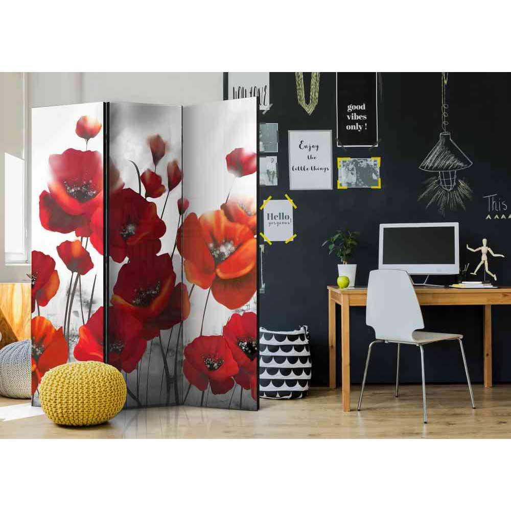 Paravent Sichtschutz mit roten Mohnblumen 135 cm breit | Garten > Zäune und Sichtschutz | Rot | Textil | 4Home