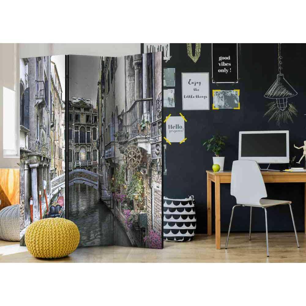 Raumteiler Paravent mit Wasserschloss in Venedig 3 teilig | Wohnzimmer > Regale > Raumteiler | Grau | Fichte - Massivholz | 4Home