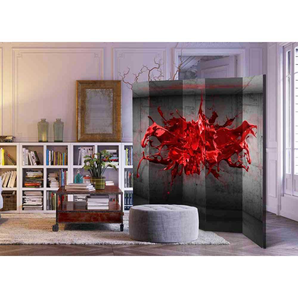Paravent Sichtschutz mit rotem Farbspritzer Motiv 225 cm breit   Garten > Zäune und Sichtschutz   Grau   Textil   4Home