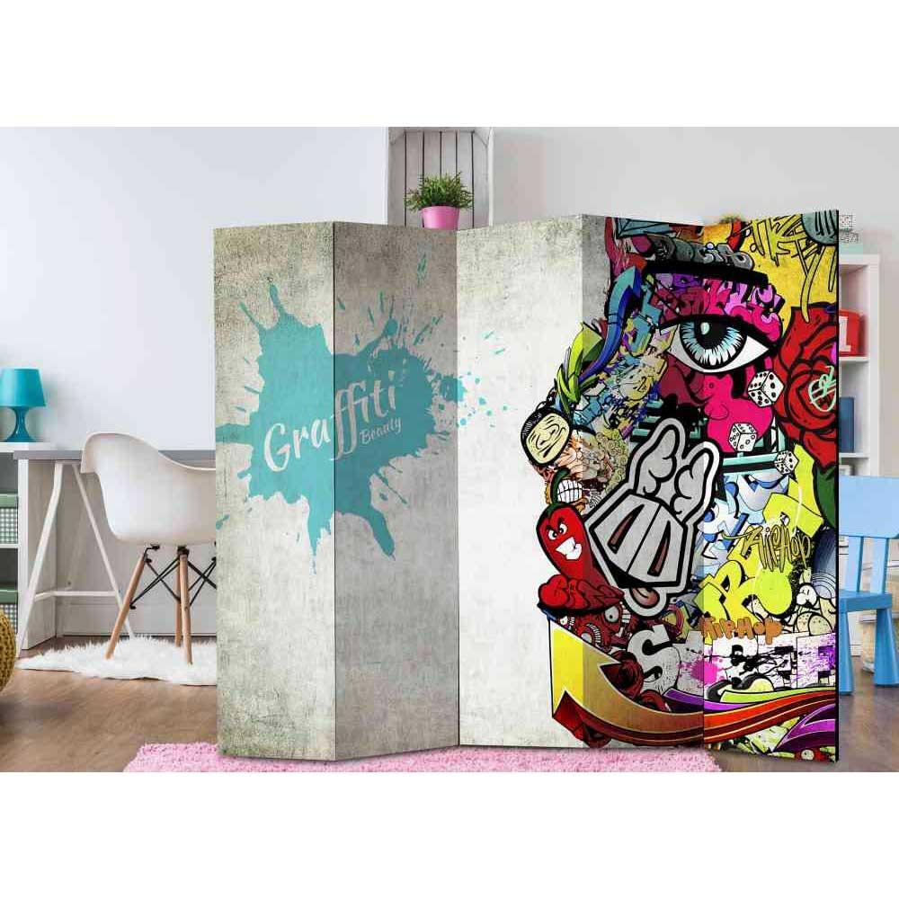 Raumteiler Paravent für Jugendzimmer Graffiti Motiv   Kinderzimmer > Jugendzimmer > Komplett-Jugendzimmer   Bunt   Textil   4Home