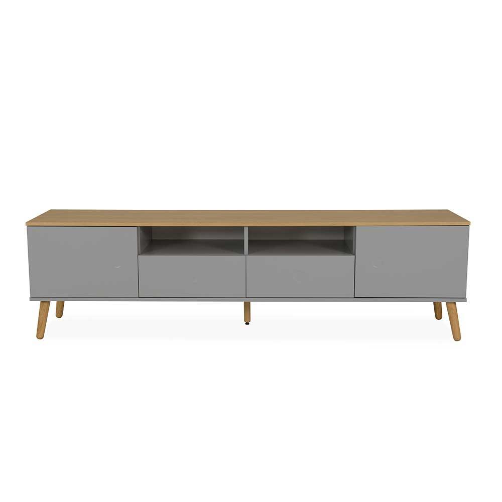 TV Möbel in Grau und Eiche furniert Skandi Design