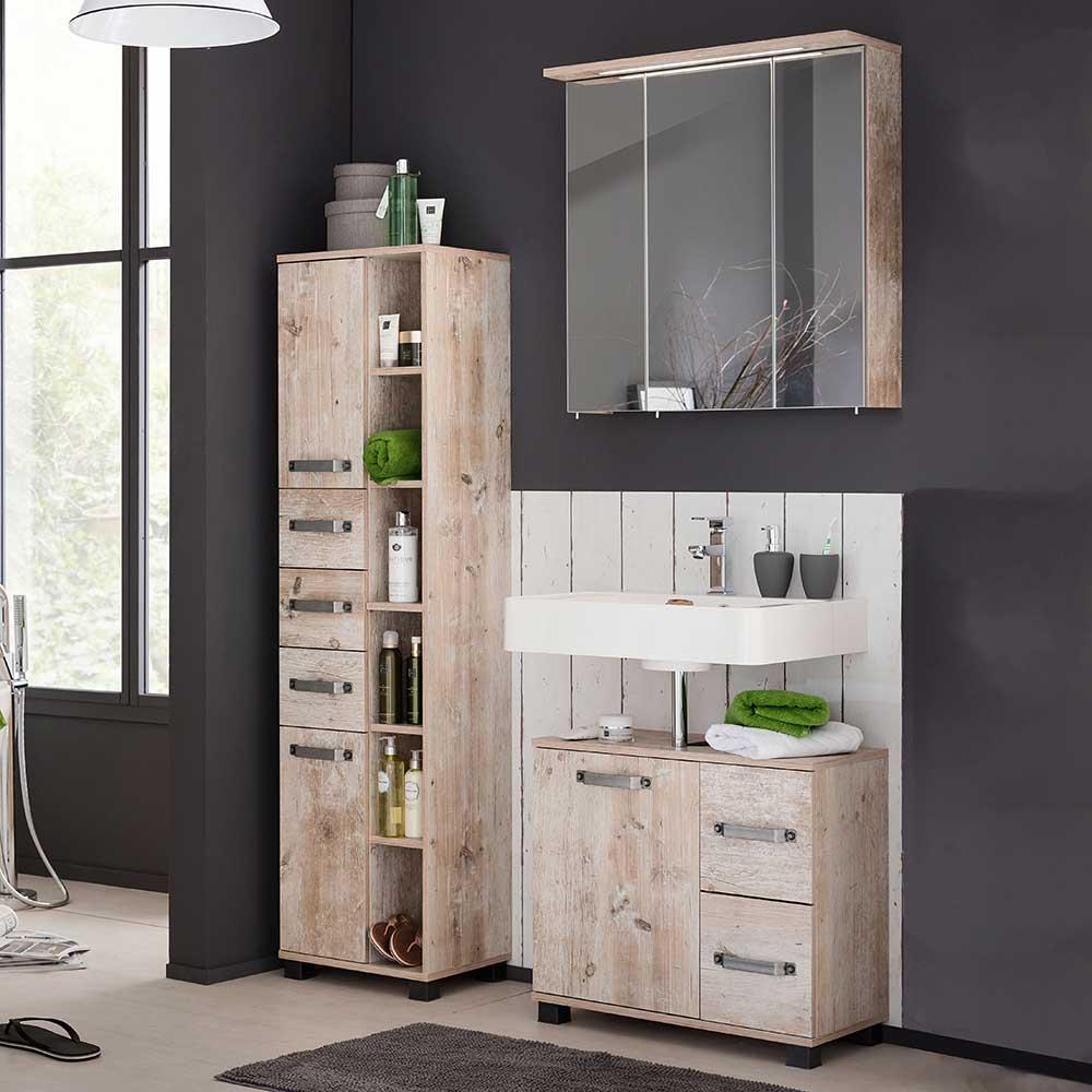 Design Badmöbel Set im Dekor Eiche Grau LED Beleuchtung (dreiteilig)