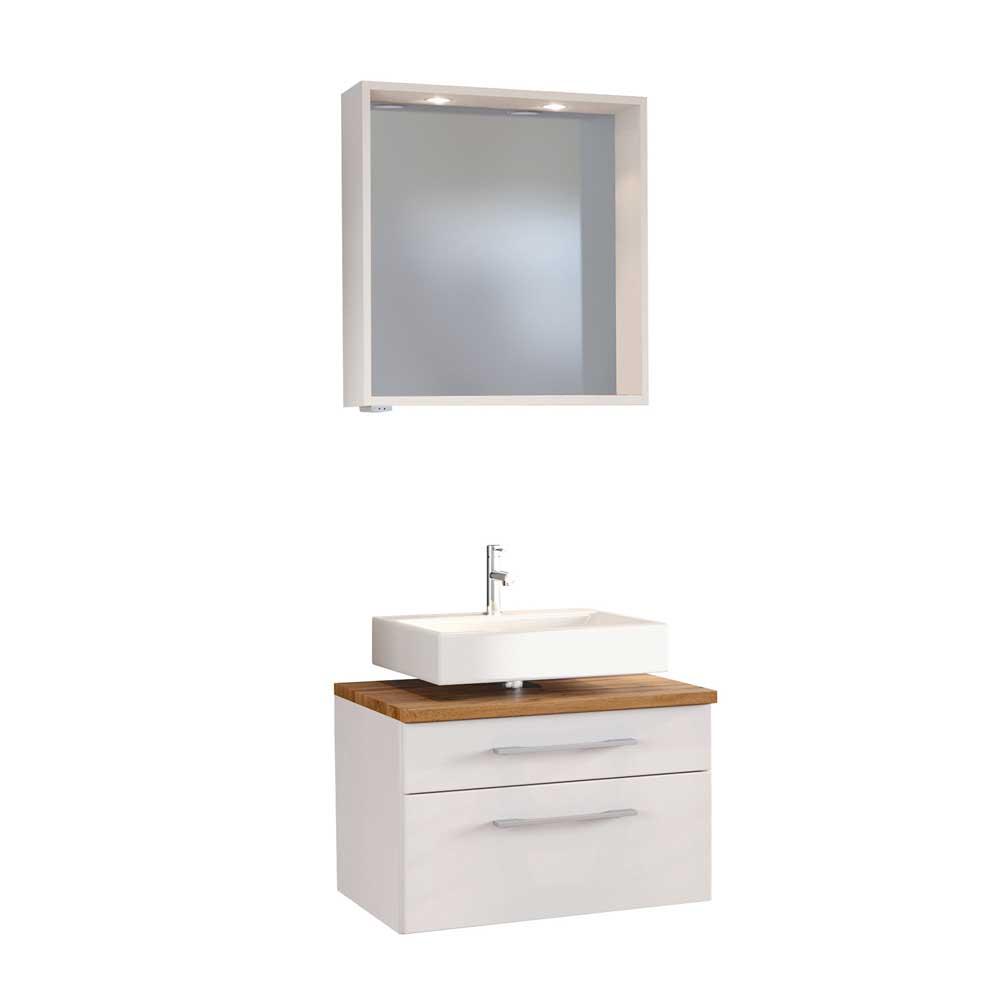 Bad Kombination in Weiß und Wildeiche Dekor beleuchtetem Spiegel (zweiteilig)