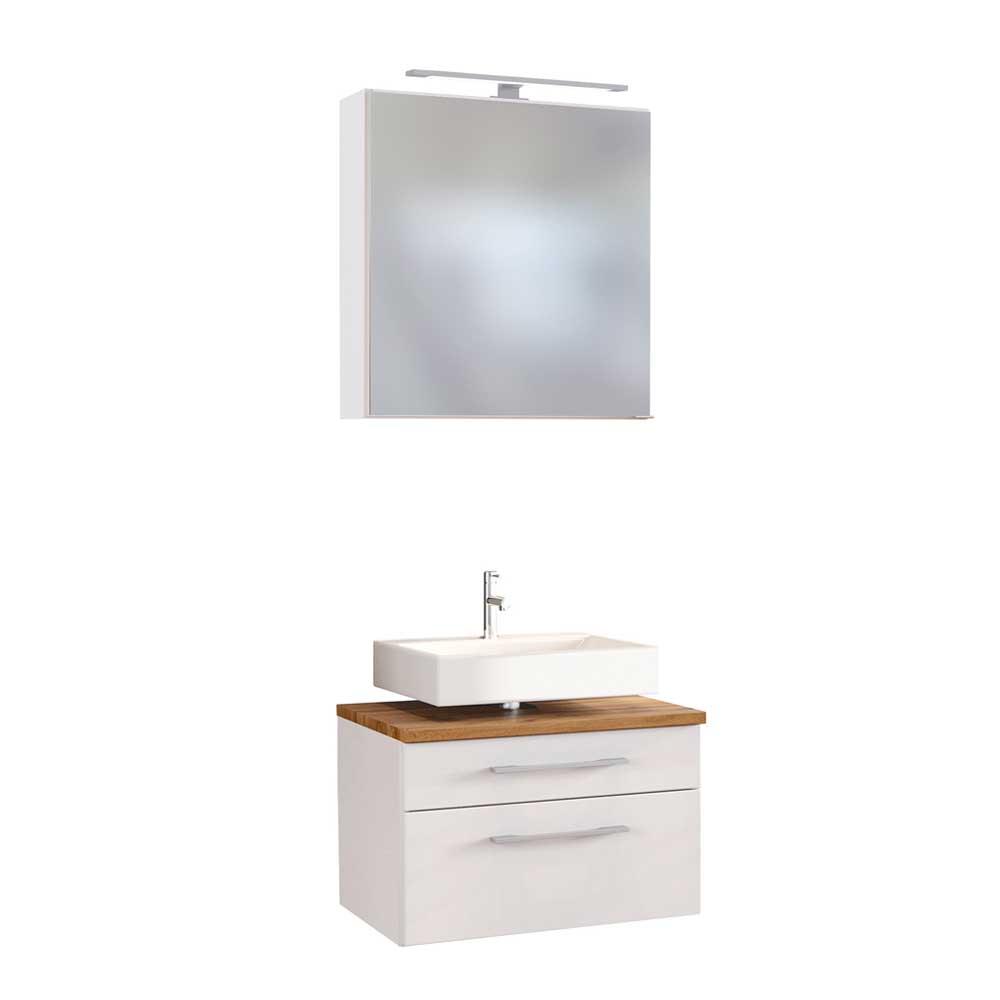 Modernes Badmöbel Set in Weiß und Wildeiche Dekor LED Beleuchtung (zweiteilig)