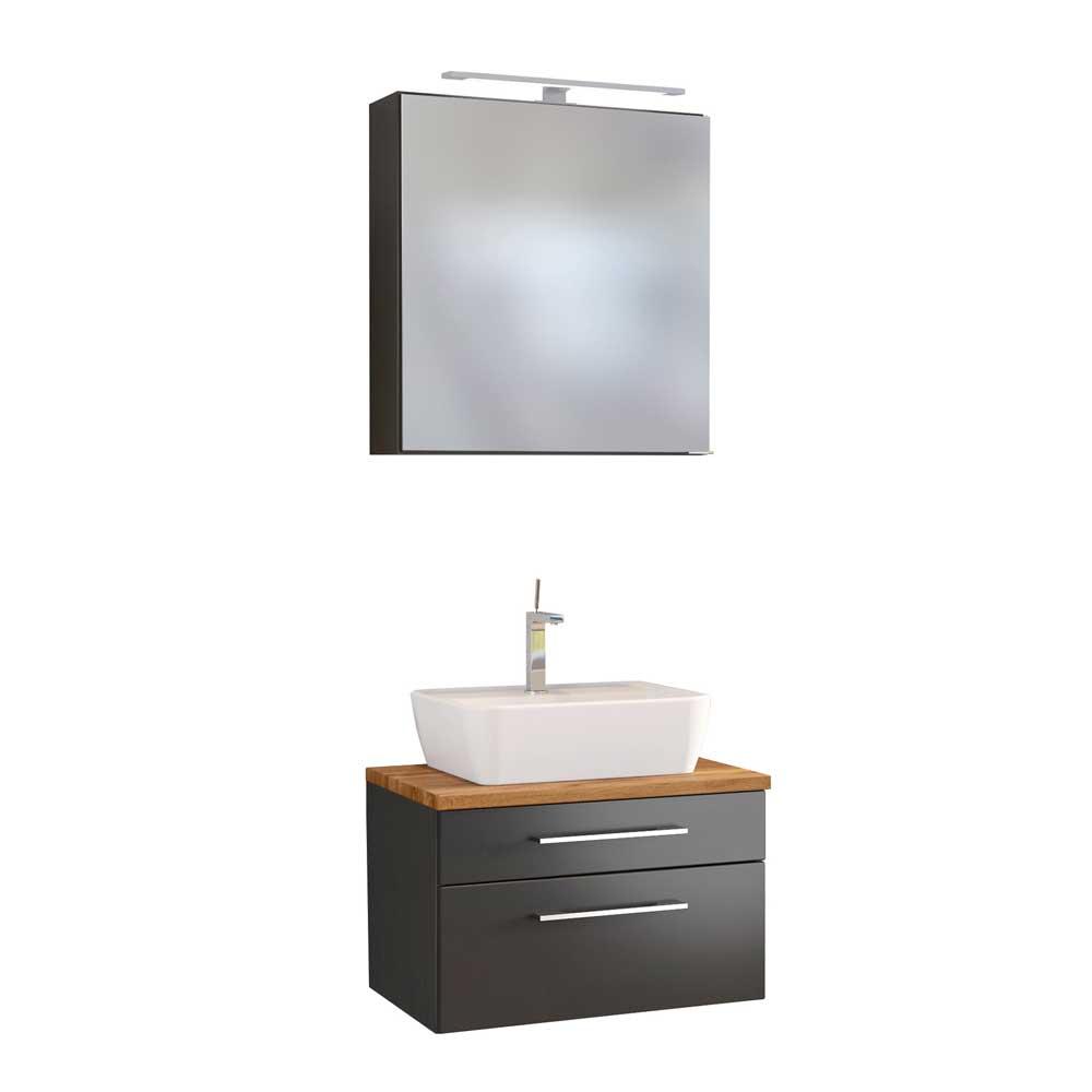 Hängende Badmöbel in dunkel Grau und Wildeiche Dekor LED Beleuchtung (zweiteilig)