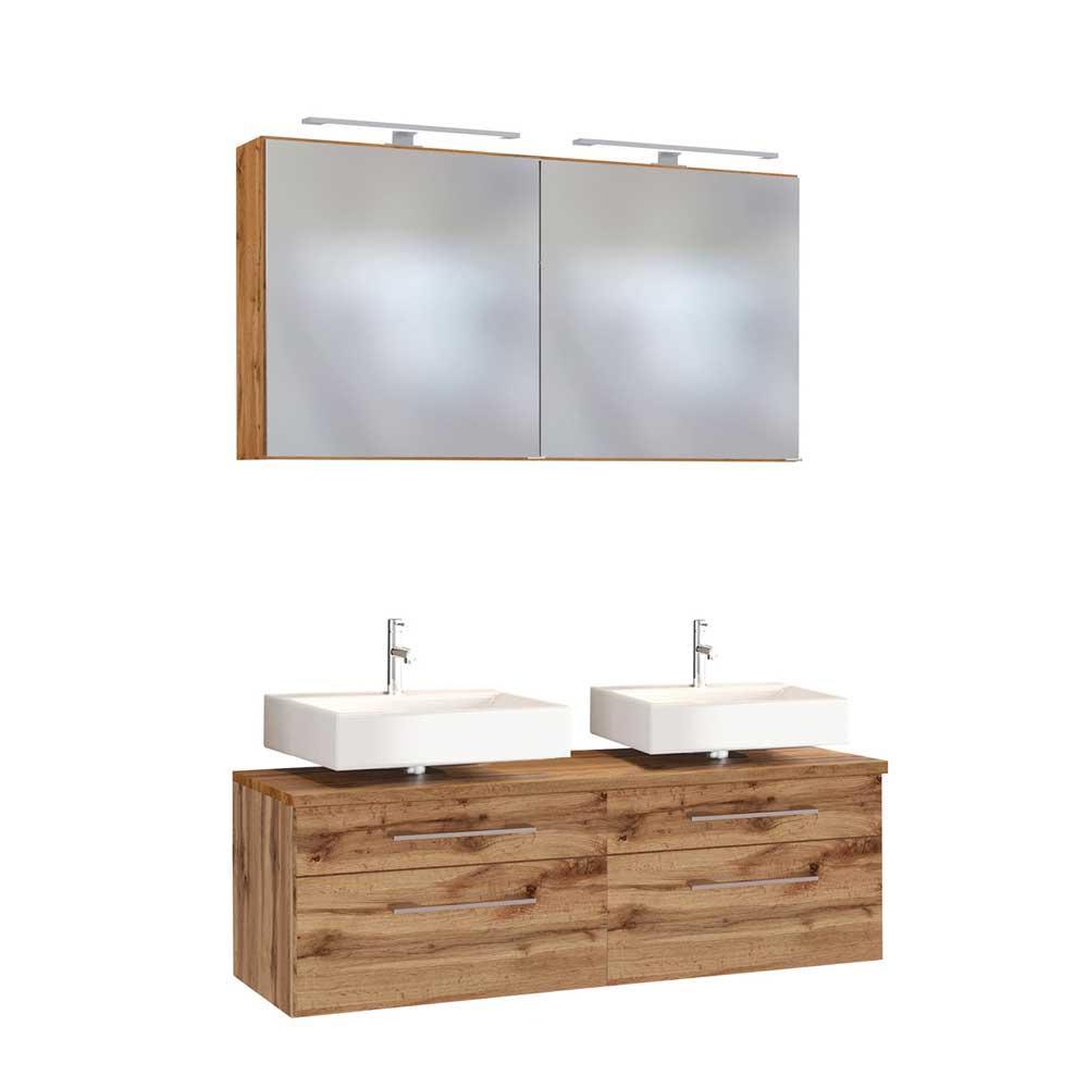Hängende Badmöbel mit Doppelwaschplatz 2 LED Spiegeln (dreiteilig)