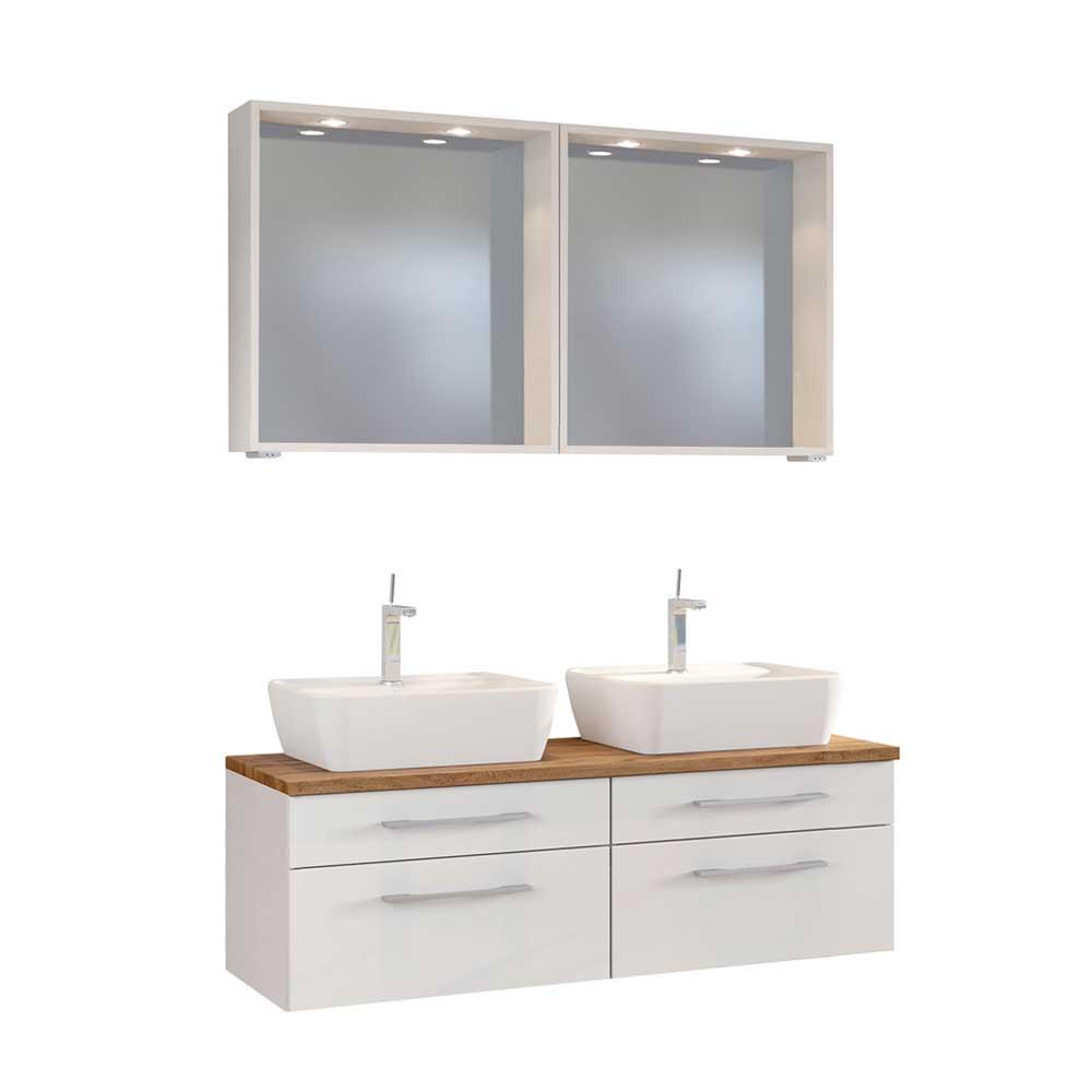 2 Personen Badmöbel in Weiß und Wildeiche Dekor LED Beleuchtung (dreiteilig)