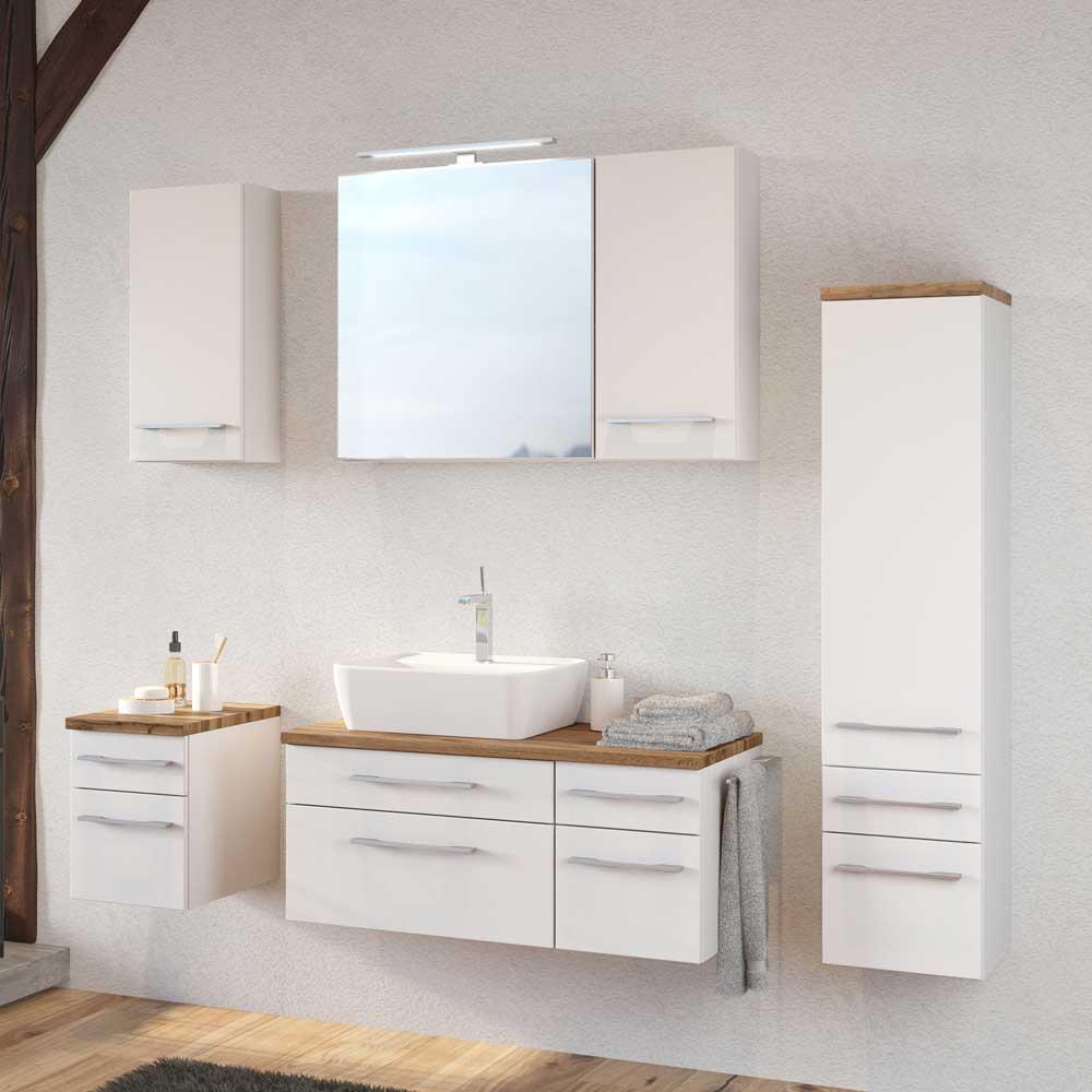 Wand Badmöbel Set in Weiß und Wildeiche Dekor modern (sechsteilig)