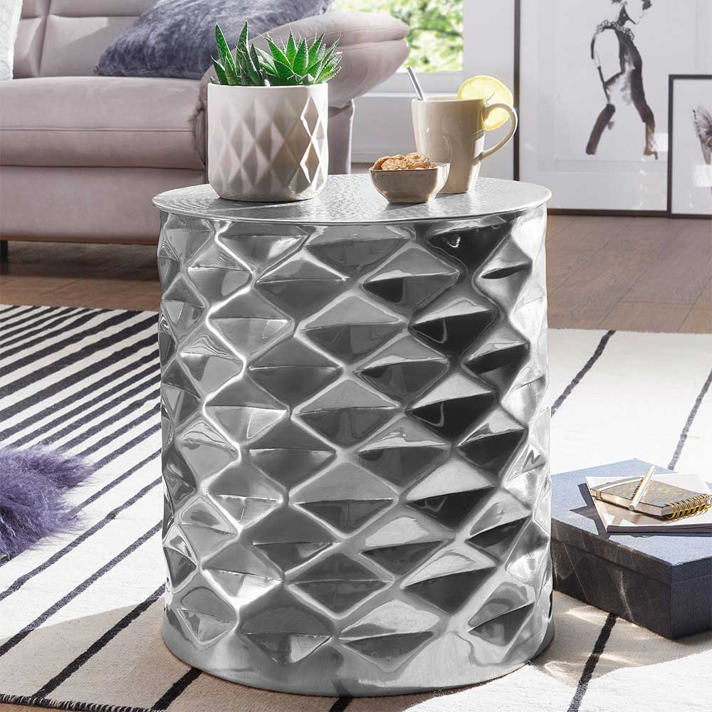 Design Sofatisch aus Aluminium Hammerschlag Optik