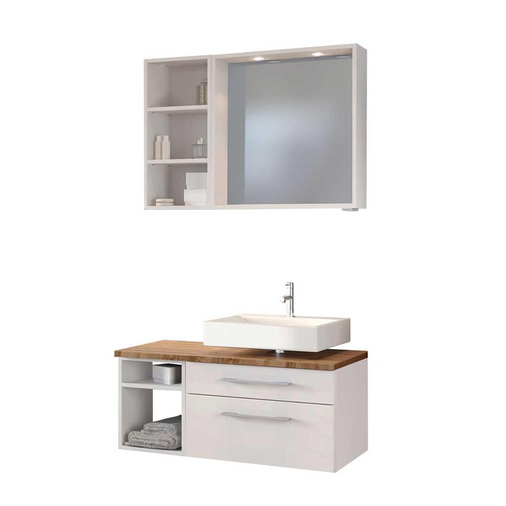Kleines Badmöbel Set in Weiß und Wildeiche Dekor LED Beleuchtung (dreiteilig)