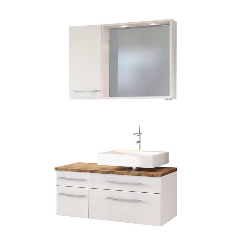 LED Badspiegel mit Waschtisch und Hängeschrank Weiß und Wildeiche Dekor (3-teilig)   Bad > Spiegel fürs Bad   Star Möbel