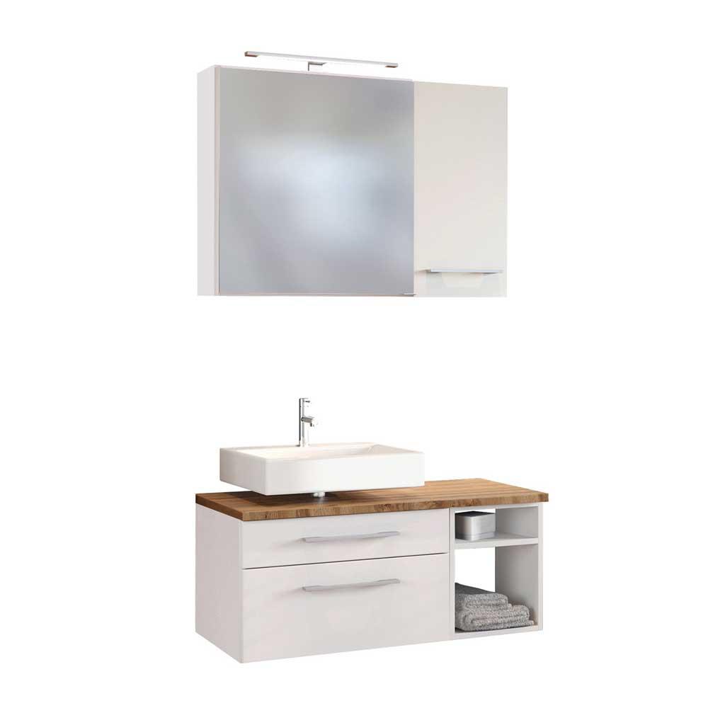 Badmöbel Set in Weiß und Wildeichefarben LED Beleuchtung (dreiteilig)