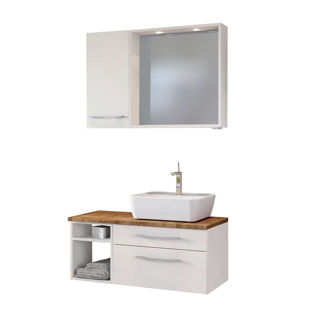 Design Badmöbel Set mit LED Beleuchtung Weiß und Wildeiche Dekor (dreiteilig)